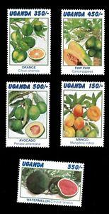 Uganda 1996 - FRUIT COLLECTION - Set of 5 Stamps (Scott #1443-7) - MNH