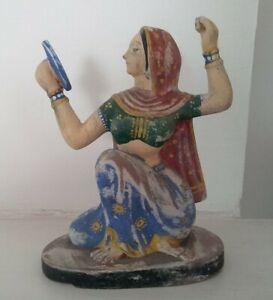 Older Vintage Terracotta Pottery Hindu Lady Goddess Figure Idol, Hand Painted