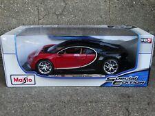 Maisto Bugatti Chiron 1:18 Scale Diecast Metal Model Car Red/Black 46629