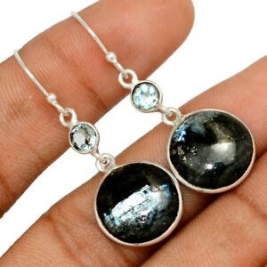 Larvikite Black Moonstone - Norway & Blue Topaz 925 Silver Earring BE57801