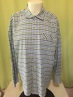 Tommy Bahama Men's Blue White Green Checks Plaid LS Button Front Shirt 2XL Make