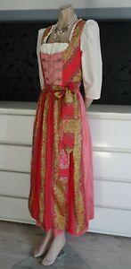 German Bavarian Long Silk Dirndl Dress Apron Blouse 6