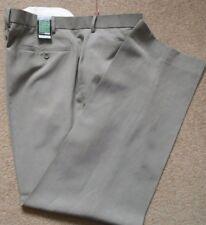 Lovely Linen Mix Light Khaki Flat Front M&S BLUE COLLEZIONE Trousers BNWT £39.50
