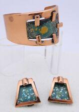 VTG RARE MATISSE RENOIR Copper Green Colorful Enamel Copper Bracelet Earrings