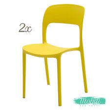 Sedia in Plastica Moderna Giallo Limone 2 Pezzi - SPEDIZIONE GRATUITA