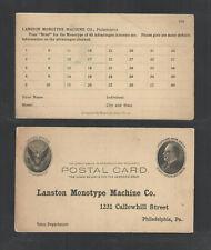 190x Lanston Monotype Machine Co Philadelphia Pa Advertising Us Postal Card Ux18