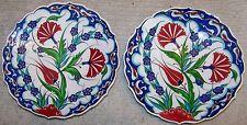 "CLEARANCE Set of 2 Iznik Floral Pattern Turkish 7"" Handmade Ceramic Plate"