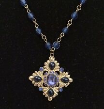 Gold Crystal Rhinestone Blue Beaded Cross  Necklace Chain