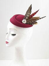 Burgundy Red Brown Pheasant Feather Pillbox Hat Fascinator Hair Clip Vtg 40s 604