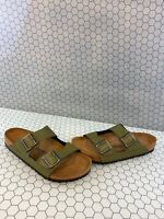 Birkenstock Arizona Pull Up Olive Birko-Flor Buckle Sandals Men's Size 43 M