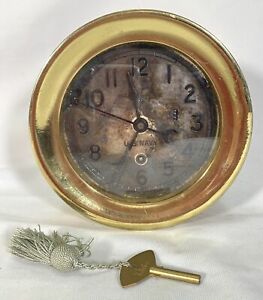 U S Navy Chelsea Brass Clock WWII Movement # 454214 with Key Running