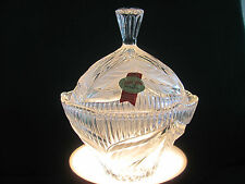 ANNA HUTTE BLEIKRISTALL CRYSTAL & FROSTED ETCHED LG COVERED CANDY DISH / GERMANY