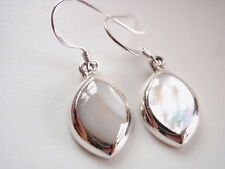 Mother of Pearl Almond Shaped Earrings 925 Sterling Silver Dangle