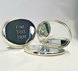 Engraved Silver Oval Luxury Compact Mirror Birthday Bridesmaid Wedding Mum Gift