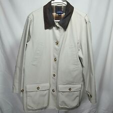 Lands End Womens 10-12 M Barn Coat Beige Button Front Flannel Lined Leather Trim