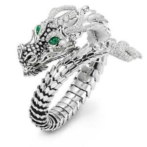 Dragon Ring.(One Size)Silver Tone Unisex Fashion Brass Cubic Zircon Jewerly Gift