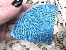 DECO FAN BEADED APPLIQUE AQUA BLUE Glass Beads Roaring 20's 1pc headband