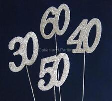 SILVER GLITTER NUMBERS ON WIRE - CAKE DECORATIONS - NEW