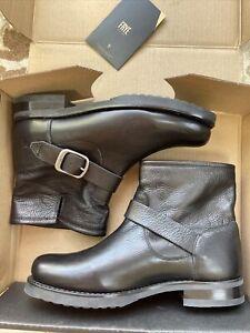 Frye Genuine Leather Womens Veronica Black Ankle Moto Bootie Sz 8.5 New