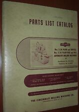 Cincinnati 2-24 Plain, Duplex, Rise & Fall Milling Machine Parts List Pub #M1829