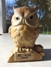 Vintage Ceramic Owl Coin Bank w/ Stopper ~Be Wise Save ~ Hand Painted
