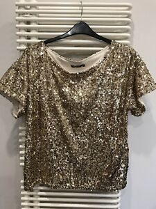Boohoo GOLD SEQUIN T.SHIRT TOP  SIZE 18 NEW WITHOUT TAGS