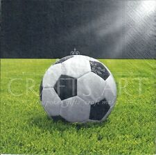 4 Tovaglioli di carta singolo DECOUPAGE. CALCIO, Calci, erba, palla, Play -497