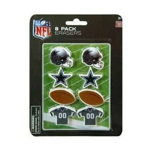 NFL 8pk Mini Football Theme Shaped Erasers on Blister Card: Cowboys or Steelers