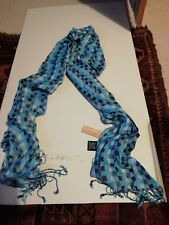 Blue Check Patterned Scarf With Tassels
