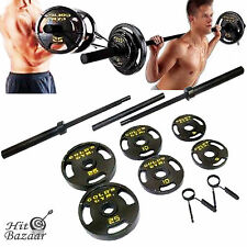 Olympic Weight Set 110 lb Plates Barbell Workout Gym Lifting Fitness Equipment