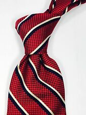 Lands' End Silk Red with Blue and White Striped Neck Tie