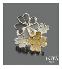 Luxus XL Ring Ikita Paris Fingerring Emaille Blumen Grau/Silber/Gold Verstellbar