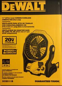 "DeWALT DCE511B 20V MAX 11"" Durable Cordless/Corded Jobsite Fan - Bare Tool"