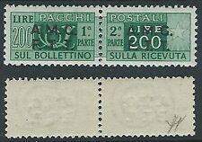 1947-48 TRIESTE A PACCHI POSTALI 200 LIRE LUSSO MH * - ED906