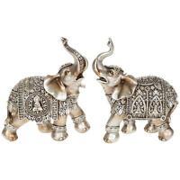 SET OF TWO Silver Buddha Elephant Medium 14 cm Statue Ornament Figurine 45622