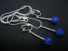A PRETTY BLUE SHAMBALLA STYLE  NECKLACE AND CLIP ON EARRING SET. NEW.