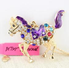 Pendant Rhinestone horse golden Necklace Jewelry Pendant Betsey Johnson chain
