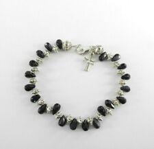 """Glass Solid 925 Sterling Silver 9.5"""" Vintage Anklet Bracelet Bali Cross Beaded"""