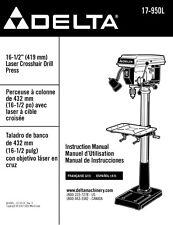 """Delta 17-950L 16 1/2"""" Laser Crosshair Drill Press Instruction Manual"""