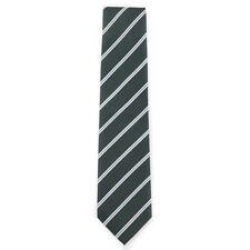 New E.MARINELLA NAPOLI Forest Green and White Ribbon Stripe Silk Tie