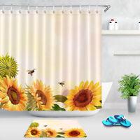 "Painting Style Sunflowers Bokeh Background Shower Curtain Set Bathroom Decor 72"""