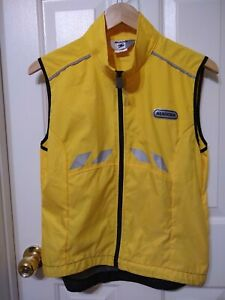 Sugoi Mens Small Polyester Yellow Front Full Zip Vest Reflective