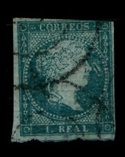 VINTAGE:SPAIN 1855 CDS CANC,B HINGED SCOTT # 38 $ 85 LOT # VSWSP1855-19