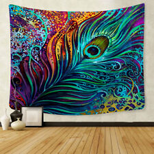 Colorful Peacock Feather Tapestry Art Wall Hanging Abstract Tapestry Room Decor