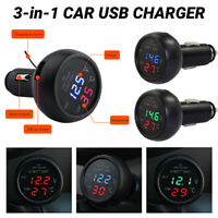 3 in 1 USB Phone Charger Adapter Car Battery Voltage Temperature Meter Adapter