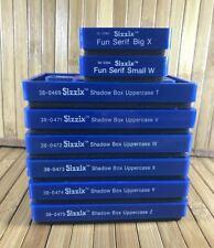 Lot of 8 Sizzix Letter Dies Shadow Box T, V, W, X, Y, Z, Fun Serif Big X Small W