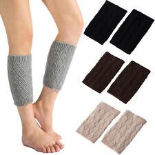 Women Knitted Boot Cuffs Toppers Short Socks Rhombus Crochet Leg Warmers