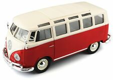 "Maisto Volkswagen VW 1960s Van Samba bus 1:25 scale 7"" RED diecast CAR model"