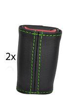 green stitch FITS TOYOTA MR2 MK2 89-00  2X SEAT BELT STALK LEATHER COVERS