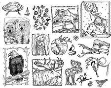 Unmounted Rubber Stamps Sheets, Alaska, Wildlife, Bald Eagle, Moose, Reindeer